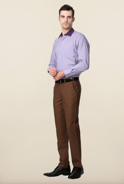 Peter England Purple Cotton Shirt