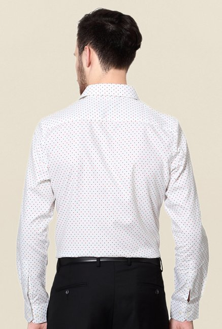 Peter England White Printed Cotton Shirt