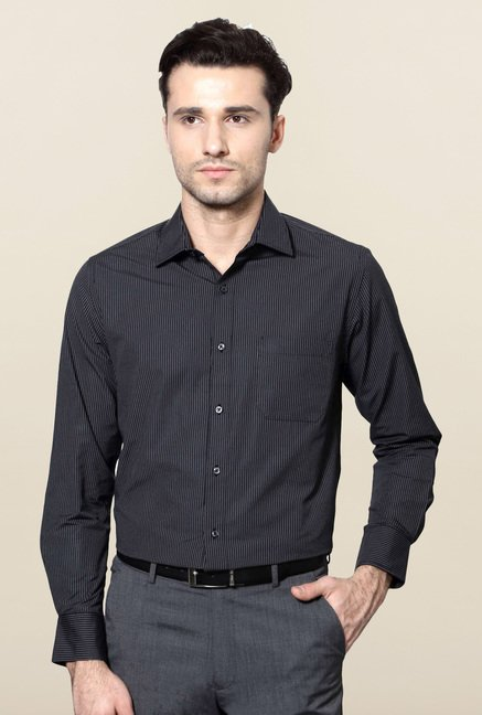 Peter England Black Striped Formal Shirt