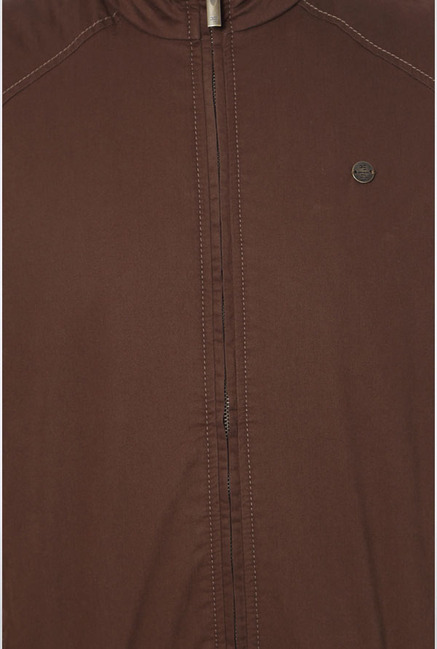Peter England Brown Solid Casual Jacket