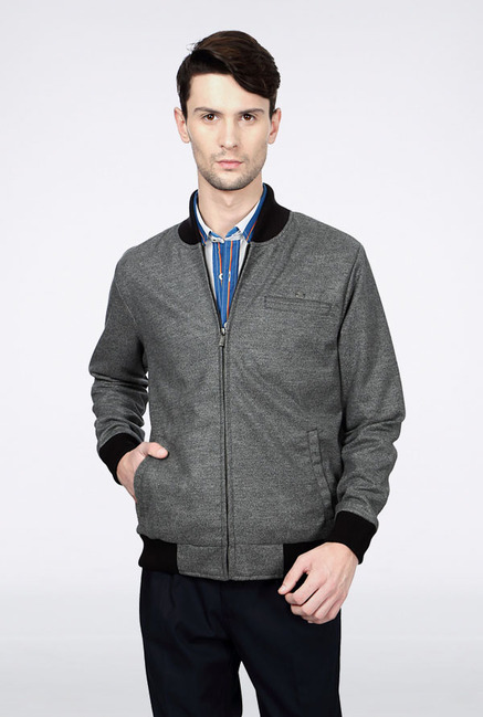 Peter England Grey Solid Casual Jacket