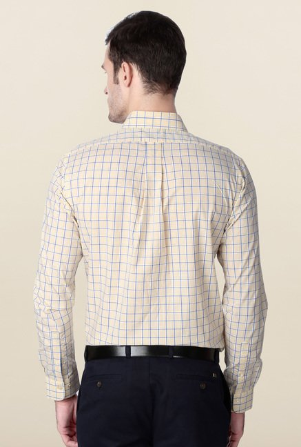 Peter England Beige Cotton Formal Shirt