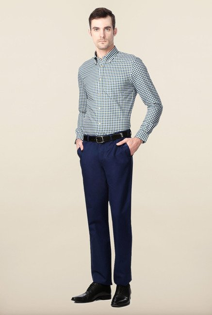 Peter England Green & Blue Checks Slim Fit Shirt