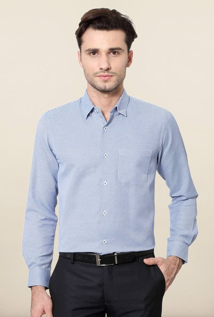 Peter England Blue Full Sleeves Printed Formal Shirt