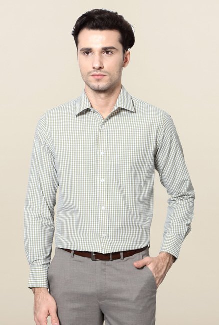 Peter England White & Yellow Checks Formal Shirt