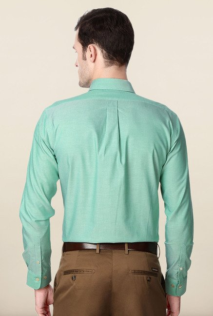 Peter England Green Solid Slim Fit Cotton Formal Shirt