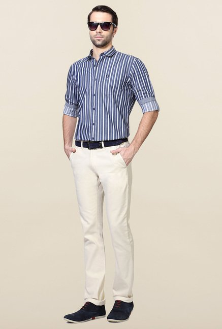 Allen Solly Navy Striped Cotton Formal Shirt