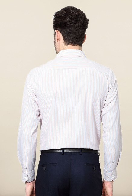 Peter England Red & Blue Striped Slim Fit Formal Shirt