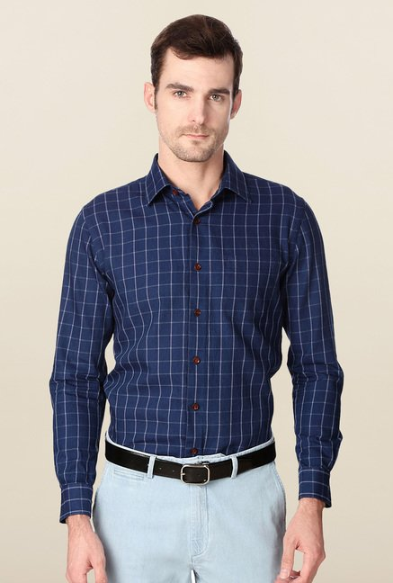 Peter England Navy Slim Fit Cotton Formal Shirt