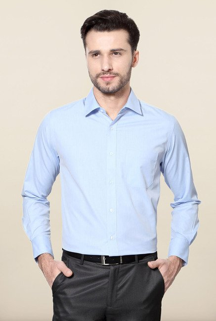 Peter England Blue Solid Slim Fit Formal Shirt