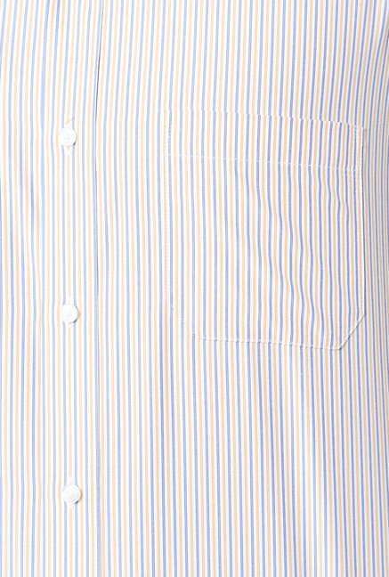 Peter England Orange & Blue Striped Formal Shirt