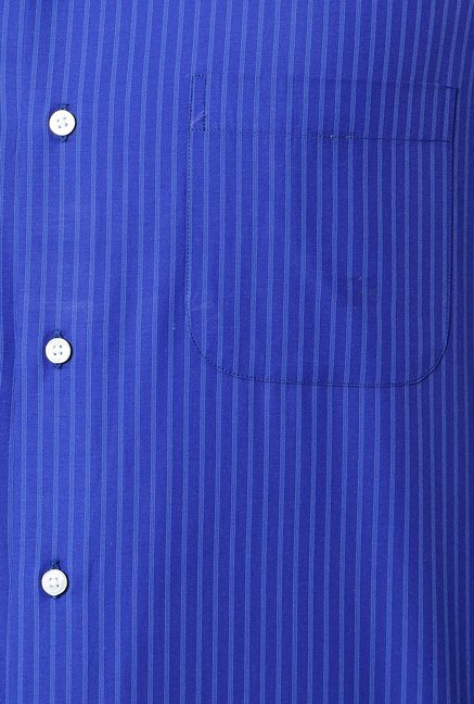 Peter England Blue Striped Slim Fit Formal Shirt