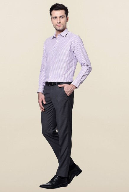 Peter England Purple Striped Slim Fit Formal Shirt
