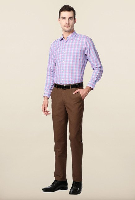 Peter England Purple & Blue Checks Slim Fit Formal Shirt