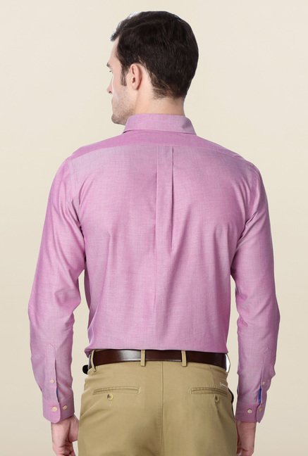 Peter England Pink Slim Fit Cotton Shirt