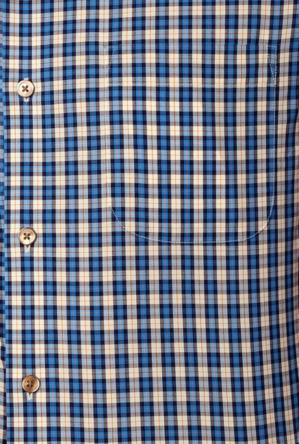 Peter England Blue Checks Slim Fit Cotton Formal Shirt