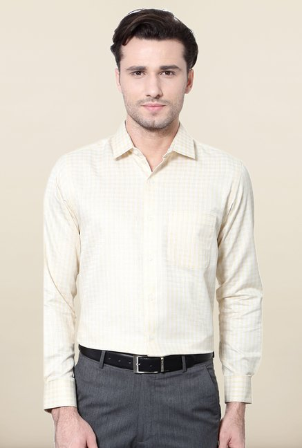 Peter England Beige & White Checks Slim Fit Formal Shirt
