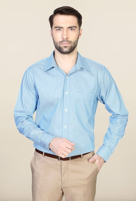 Allen Solly Blue Printed Regular Fit Shirt