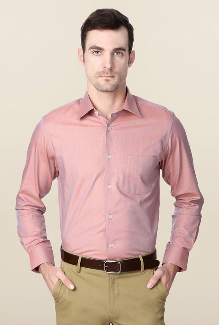 Peter England Pink Cotton Shirt