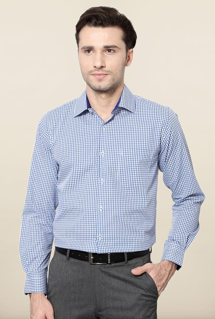 Peter England Blue & White Checks Shirt