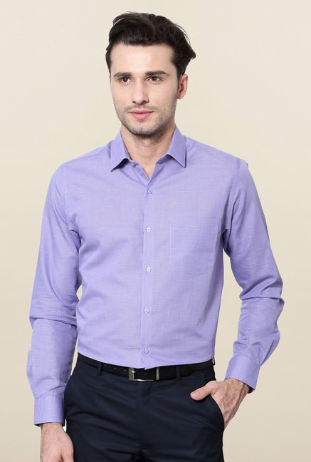 Peter England Purple Checks Slim Fit Formal Shirt