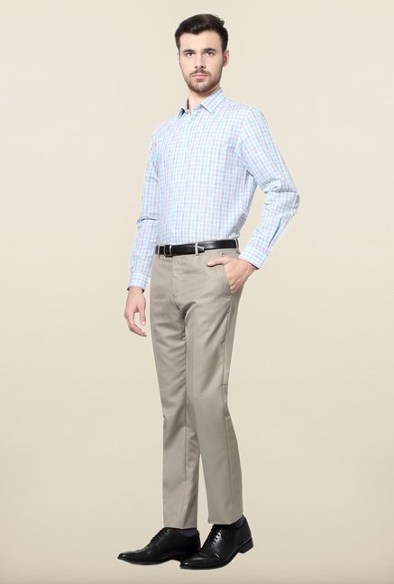 Peter England Blue & Purple Checks Formal Shirt