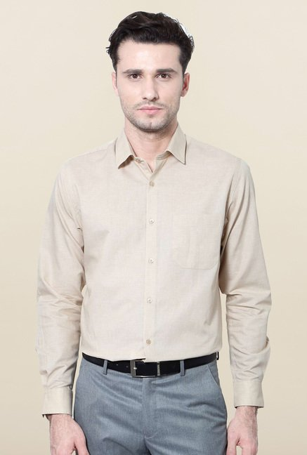 Peter England Beige Checks Slim Fit Formal Shirt