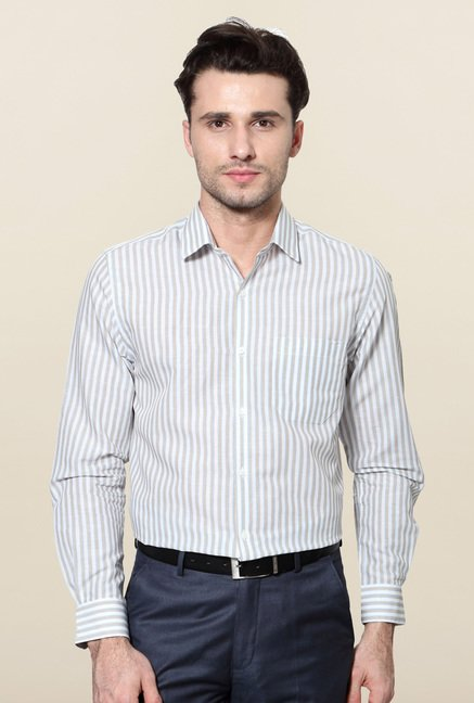 Peter England White Striped Full Sleeves Formal Shirt