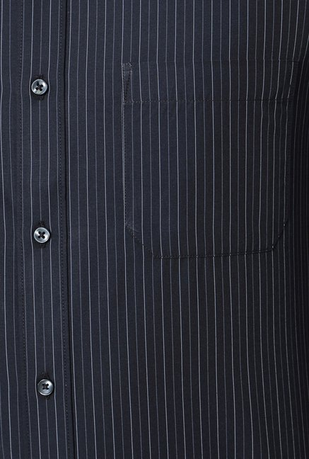 Peter England Black Striped Slim Fit Formal Shirt