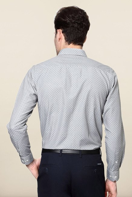 Peter England Grey Printed Formal Shirt