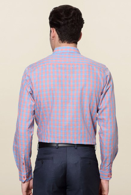 Peter England Pink & Blue Checks Slim Fit Shirt