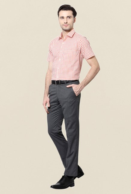 Peter England Red Checks Slim Fit Cotton Formal Shirt