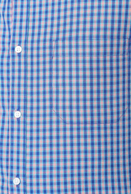 Peter England Royal Blue Checks Slim Fit Shirt
