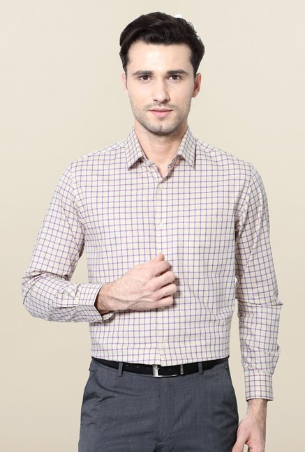 Peter England Beige Checks Formal Shirt