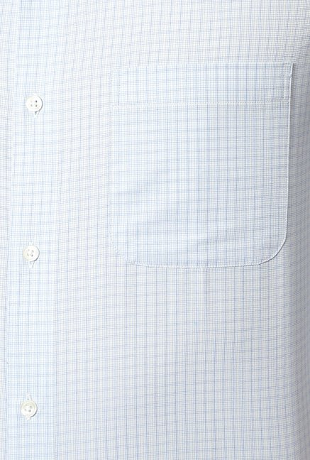 Peter England Sky Blue Checks Formal Shirt
