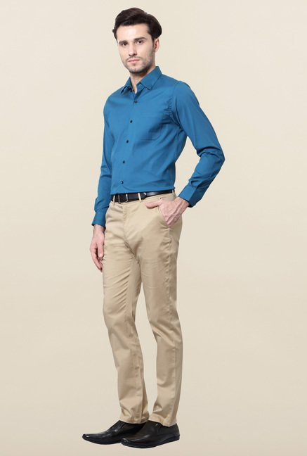 Peter England Blue Solid Cotton Formal Shirt