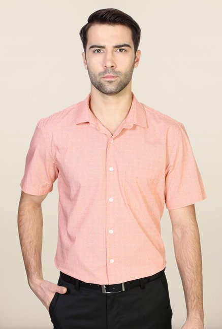 Allen Solly Orange Checks Formal Shirt