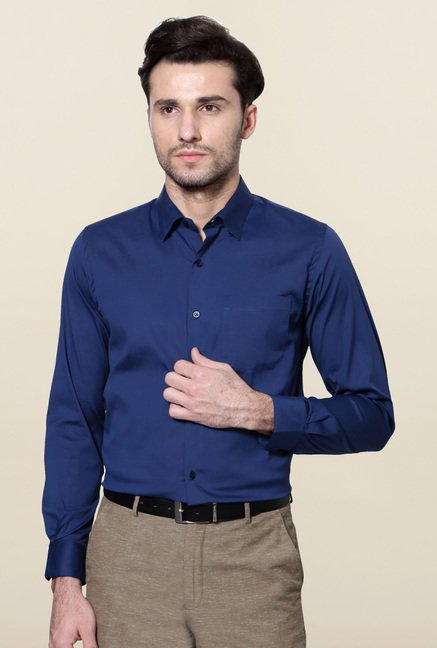 Peter England Navy Slim Fit Cotton Shirt