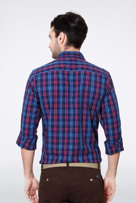 Allen Solly Blue & Pink Checks Slim fit Casual Shirt