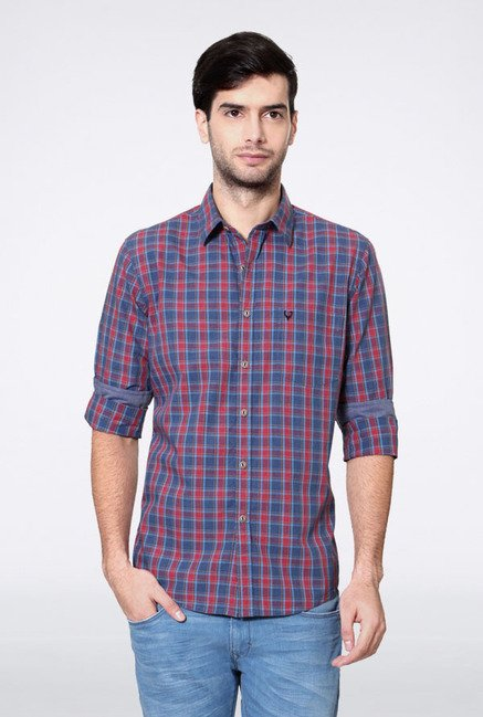 Allen Solly Blue & Red Checks Casual Shirt