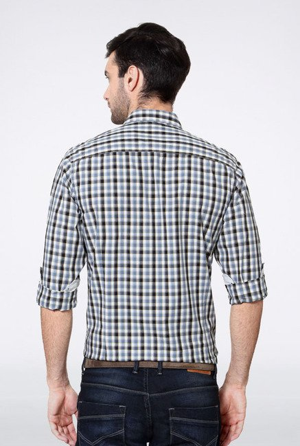 Allen Solly Blue & Grey Checks Casual Shirt