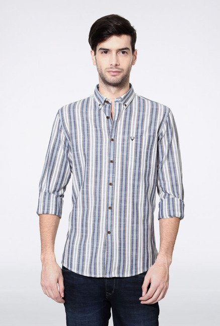 Allen Solly Blue & White Striped Casual Shirt