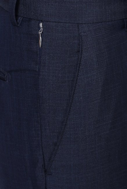 Peter England Navy Solid Slim Fit Trouser