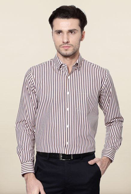 Peter England Navy Striped Cotton Shirt