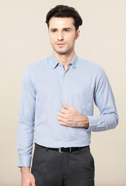 Peter England Blue Printed Slim Fit Formal Shirt