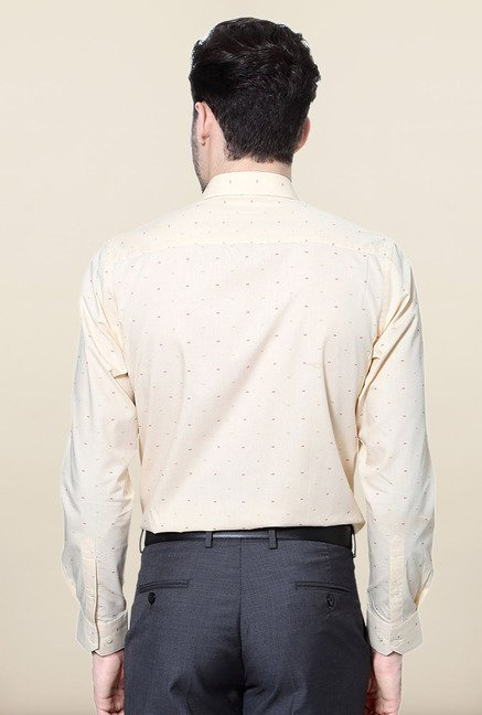 Peter England Beige Printed Cotton Formal Shirt