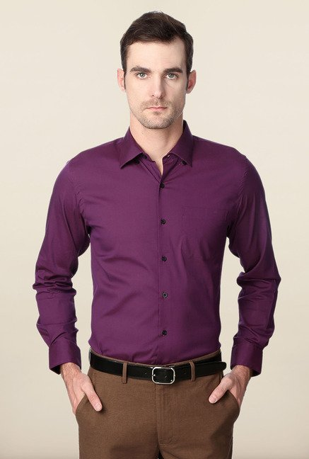 Peter England Purple Solid Slim Fit Formal Shirt