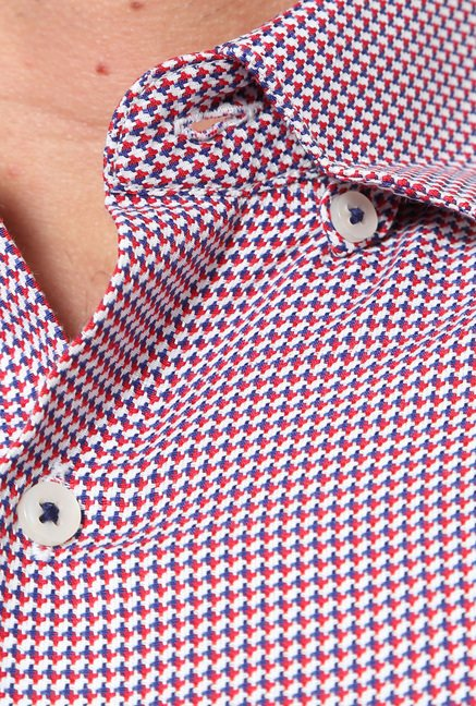 Peter England Red Printed Slim Fit Formal Shirt