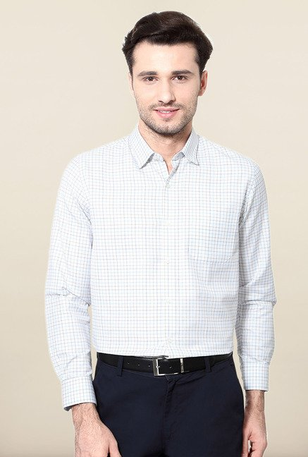 Peter England White Checks Slim Fit Formal Shirt
