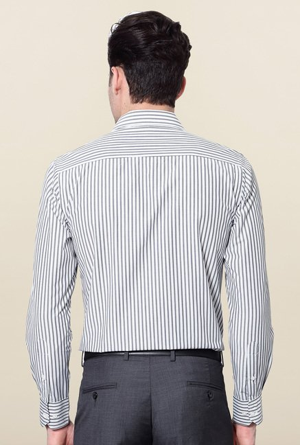 Peter England White & Black Striped Formal Shirt